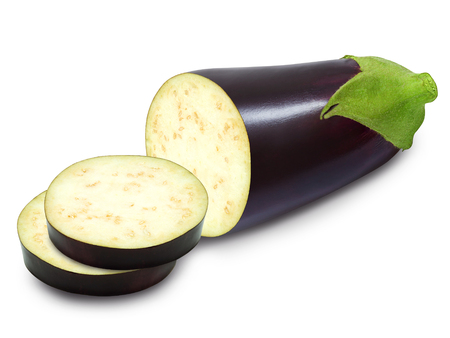 Fresh half of eggplant and slices isolated on a white background. Design element for product label, catalog print, web use.