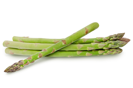 A bunch of asparagus isolated on white background. Design element for product label, catalog print, web use. Stok Fotoğraf - 87331821