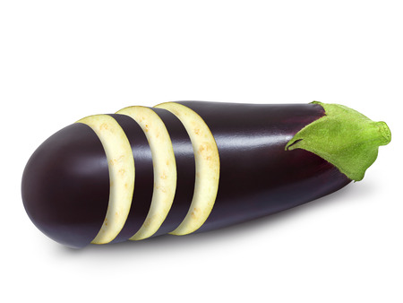 Fresh cutted into slices eggplant isolated on a white background. Design element for product label, catalog   print, web use. Stock Photo