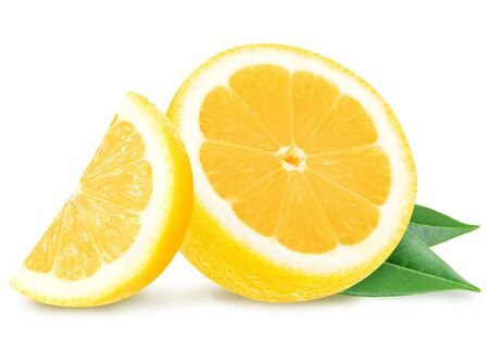 Juicy yellow lemon slices with leaves isolated on a white background. Stok Fotoğraf - 88266766