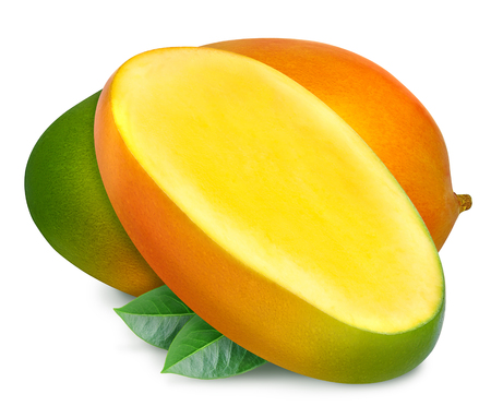 Juicy fresh mango with slice and leaves isolated on a white background. Ripe tropical fruit with antioxidant   effect.
