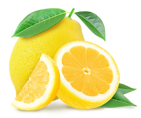Juicy yellow lemon and slices with leaves isolated on a white background. Design element for product label, catalog print, web use.