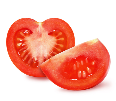 Ripe red tomato and a slice of tomato isolated on a white background. Design element for product label,   catalog print, web use. Stok Fotoğraf - 89777525