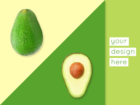 Abstract modern food graphical background with avocado. Bright colors.