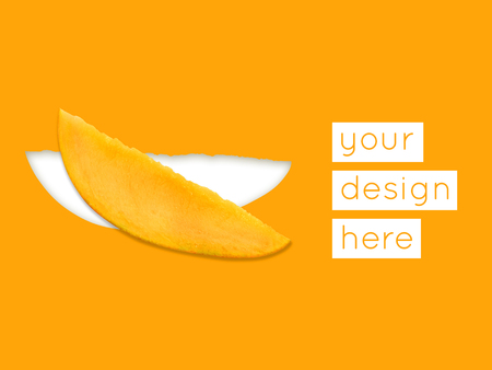 Abstract modern food graphical background with slice of mango. Bright colors.