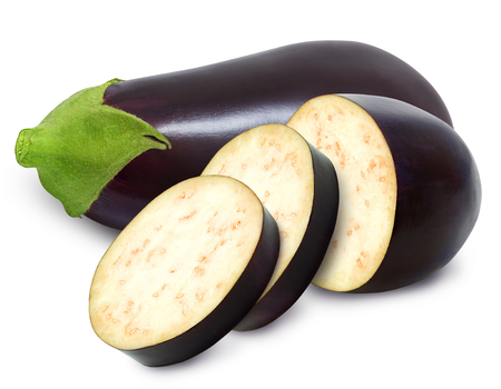 Fresh eggplant and slices isolated on a white background. Design element for product label, catalog print, web use. Stock Photo