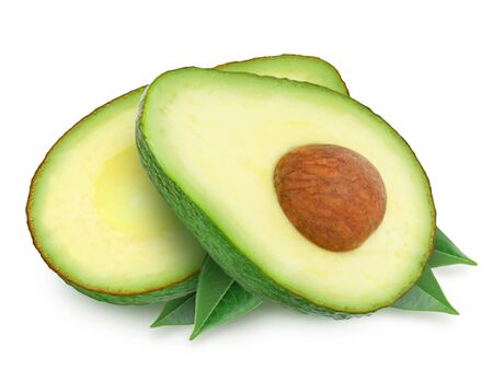 Two slices of avocado with leaves isolated on the white background. One slice with core. Design element for product label. Stock fotó