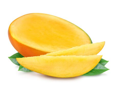 Juicy fresh mango slices and leaves isolated on a white background. Ripe tropical fruit with antioxidant effect. Design element, product label, catalog print, web use.