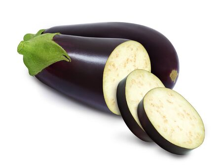 Fresh eggplant and slices isolated on a white background. Design element for product   label, catalog print, web use.