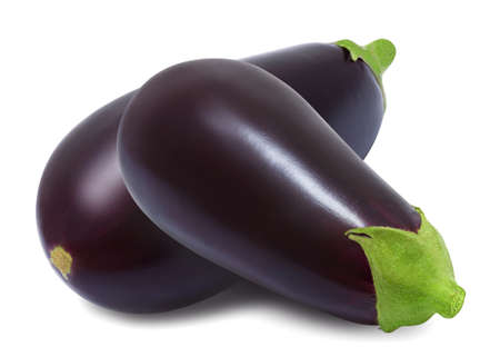 Two fresh eggplant isolated on a white background. Design element for product label, catalog print, web use.