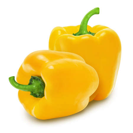 Two yellow paprika peppers isolated on a white background. Design element for product label, catalog print, web use. Stok Fotoğraf