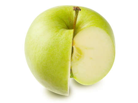 Fresh green ripe piece of apple with stem isolated on a white background. Design element for product label, catalog print, web use.