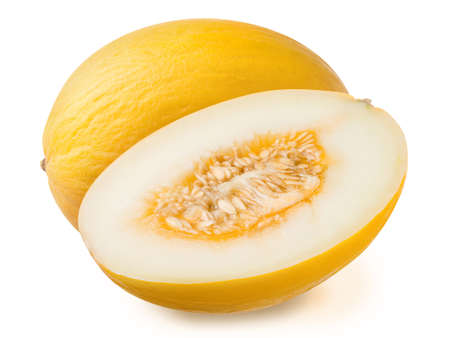 Fresh yellow ripe whole and half of honeymelon isolated on a white background. Design element for product label, catalog print, web use. Stok Fotoğraf