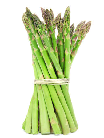 A bunch of green asparagus isolated on a white background. Design element for product label, catalog print, web use.