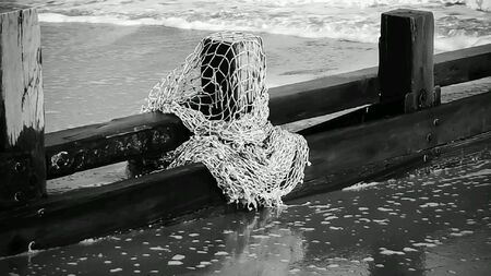 red: Discarded netting on post Foto de archivo