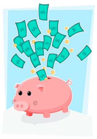 cute piggybank with money and coin flying above