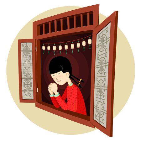 chinese girl praying in the window