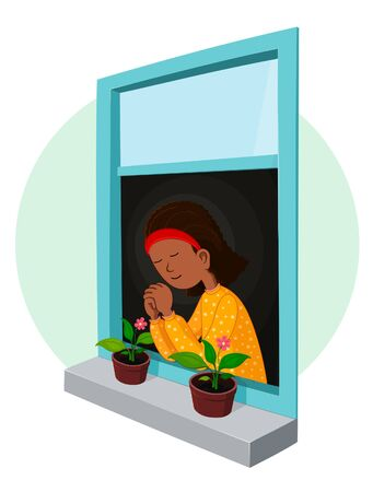 african girl praying Stock Vector - 18737579