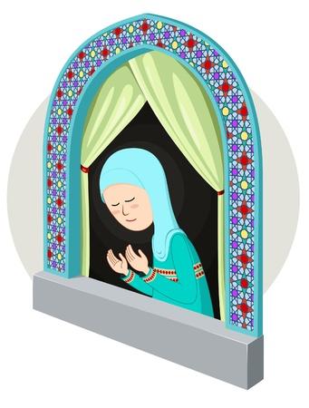 arabicmoslem girl praying inthe window