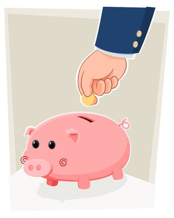 bringing home the bacon: cute piggy bank Illustration