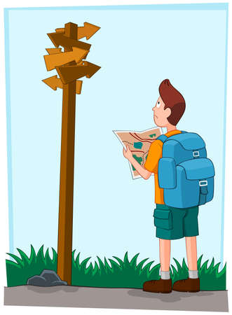 a young traveler getting himself confused seeing a direction sign.