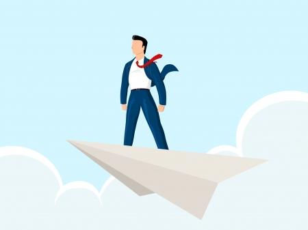 businessman standing on a aper plane Illustration
