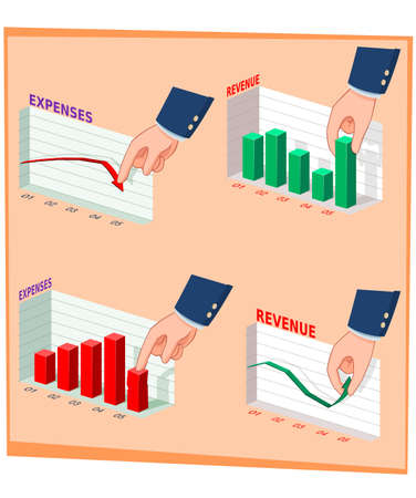 illustration of businessmans hand manipulating graphic and data Illustration