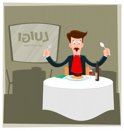 illustration of man eating spaghetti alone in a restaurant
