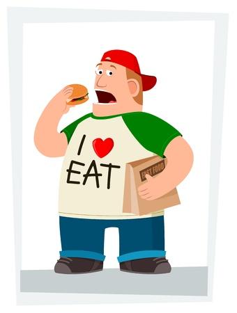 ilustración de un hombre joven que come la hamburguesa y con una bolsa de comida rápida