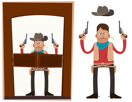 Cowboy entering saloon carrying pistols in his both hands
