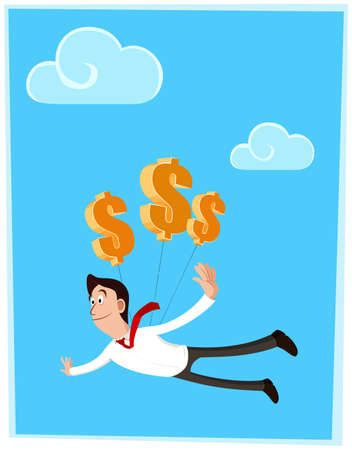 businessman get success and flying get lifted by dollar symbol Illustration