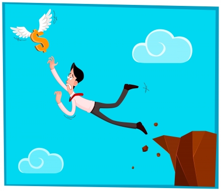 seize: businessman jumping out from the cliff chasing a dollar