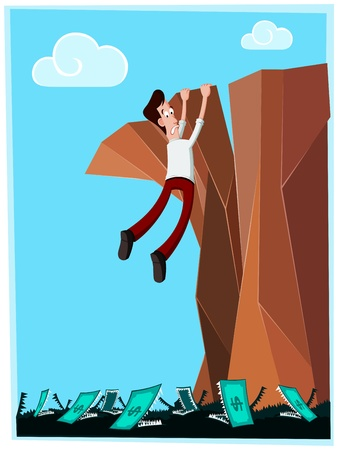 businessman in danger hanging at the cliff with money-monster below his feet Illustration