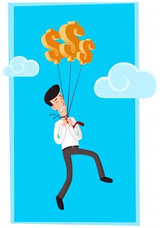 affraid: businessman get suffered because his neck hanged by dollar