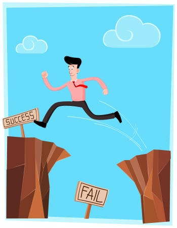 businessman crossing the cliff as sign of success