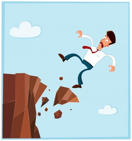 사업가 절벽의 측면에서 떨어지는