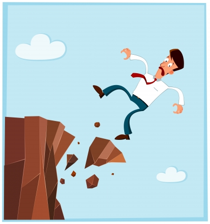 misery: businessman falling from the side of cliff