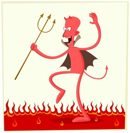 satan dancing happily above the fire