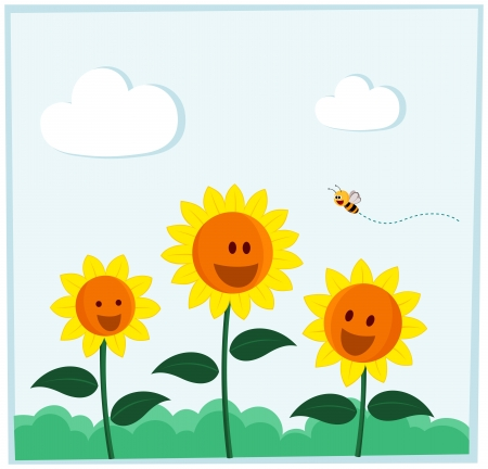 pleased: bee and sunflower smiling happily in a bright daylight