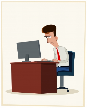 himself: businessman getting himself tired because of working all days long Illustration