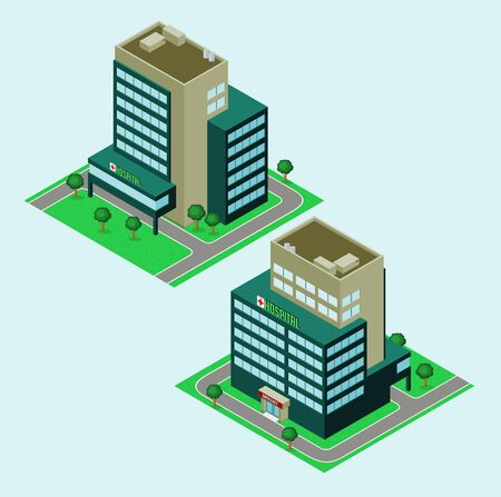 isometric hospital with garden, available in 2 view Vector