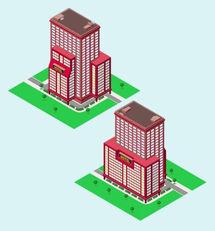 isometric hotel with garden, available in 2 view Illustration