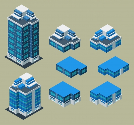 pre-assembled isometric building apartment, its height is easily customize Vector