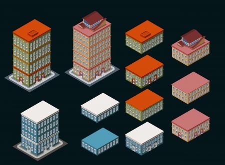 그 높이가 사용자 정의 쉽게이며, 아이소 메트릭 건물 아파트 사무실을 이전은 조립