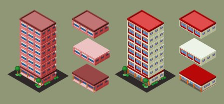 pre-assembled isometric building apartment office, its height is easily customize