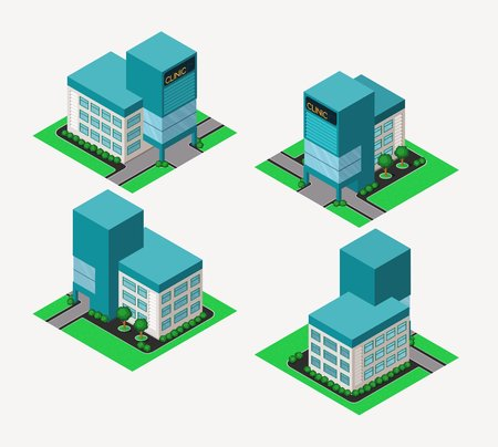 isometric hospital clinic, available in 4 view