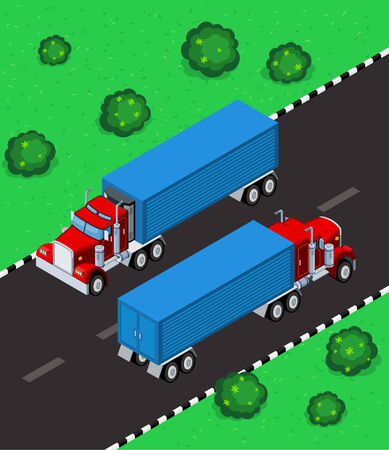 truck on highway: isometric truck parking in the street, available in 2 view, front and back
