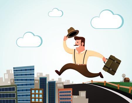 주민 점프와 일자리를 찾고 도시로 이동, 행복 하 게 미소