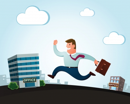 worker jumping and smiling happily, moving to the new office for a better job Ilustração