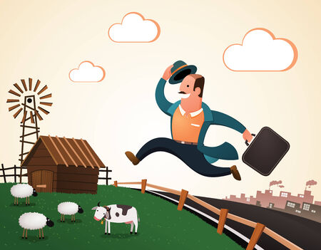 villager jumping and smiling happily, return to the village after his retirement enjoying his rest of life Vector